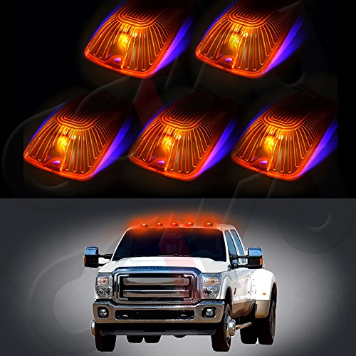 cciyu 5x Amber Lens Cab Marker Cover case+5x194 10-Led Bulbs Replacement fit for 1988-2000 Chevrolet C2500 C3500 K1500 K2500 C1500 K3500 1988-2000 GMC C1500 C2500 C3500 K1500 K2500 K3500 etc