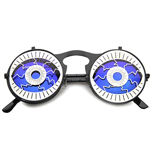 - Party Eyeball Flip-Up Cover Colored Mirror Lens Round Novelty Sunglasses 47mm (Black-Silver/Ice)
