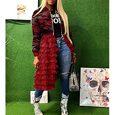 Women Camo Mesh Patchwork Bomber Jacket Front Zip Lace Ruffle Hem Split Trench Coat Dress Casual Club: Clothing