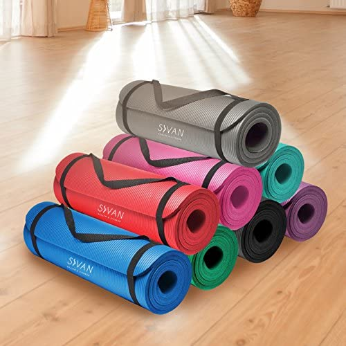 Sivan Health and Fitness 1/2-InchExtra Thick 71-Inch Long NBR Comfort Foam Yoga Mat for Exercise, Yoga, and Pilates (Teal) 9