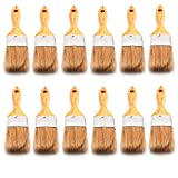 Antrader 12pcs Paint Brush Bristle Hair Wooden Handle Varnish Brush for for Paint, Stains, Varnishes, Glues, and Gesso 1.5-inch