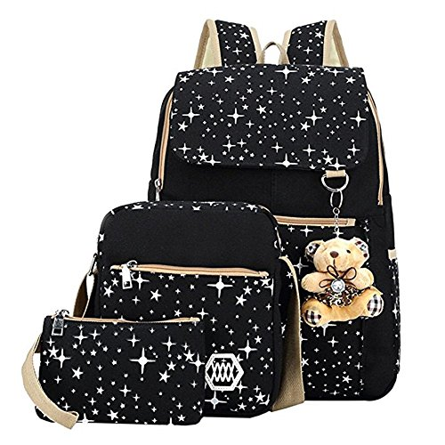 WISWIS Girls' Canvas Backpack Set 3 Pieces Patterned Bookbag Laptop School Backpack (Black) - 3 Piece Book Set