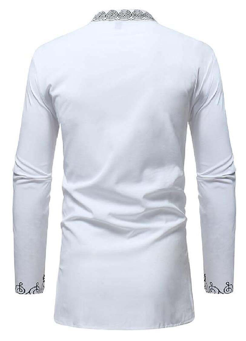 Etecredpow Mens Vogue Ethnic Style African Long Sleeve Stand Collar Dashiki Shirts