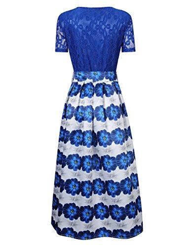 Glorysunshine Women Modest Floral Print Lace Bowknot A-line Pleated Maxi Dress Royal Blue XL