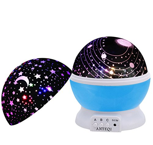 Night Light Kids Lamp, Romantic Rotating Sky Moon & Cosmos Cover Projector Night Lighting for Children Adults Bedroom, Mood/Decorative Light, Baby Nursery Light, Living Room Gift (Blue)