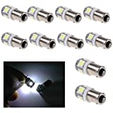Welcomeuni 10 Pcs White Light Super Bright 12V T11 BA9S 5050 SMD 5-LED Car Bulb Lamp New