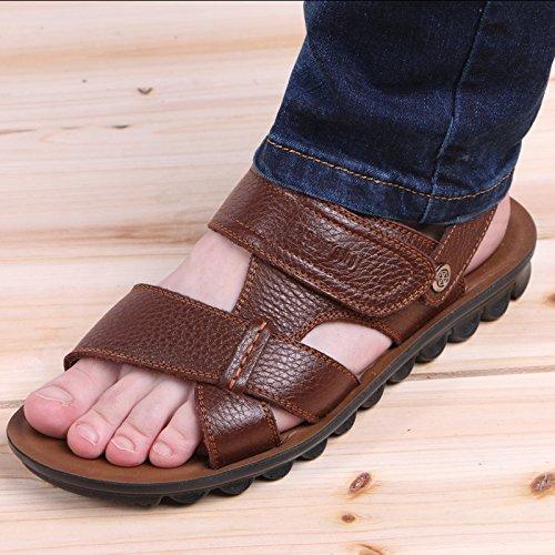 Xing Lin Sandalias De Hombre Verano Hombres Sandalias De Cuero De Los Hombres Zapatos De Hombre Casual Tendencia Transpirable Sandalias De Playa Y Zapatillas De Punta Abierta, De 44 Años, Brown 86