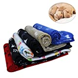 KYC 3 pack Puppy Blanket Cushion Dog Cat Fleece Blankets Pet Sleep Mat Pad Bed Cover with Paw Print Kitten Soft Warm Blanket for Animals (3 x Paw, 40in * 28in)