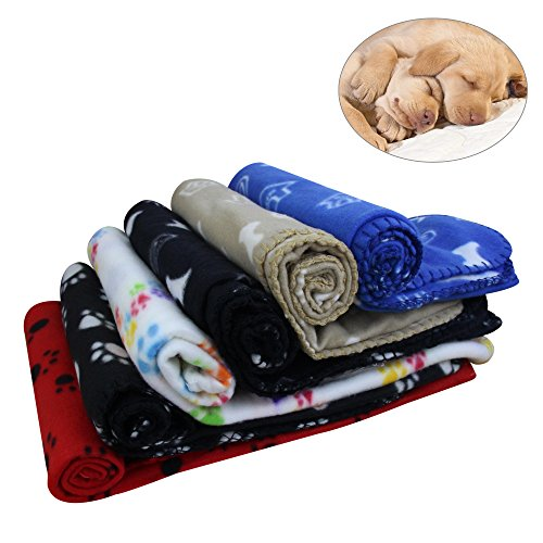 KYC 3 pack Puppy Blanket Cushion Dog Cat Fleece Blankets Pet Sleep Mat Pad Bed Cover with Paw Print Kitten Soft Warm Blanket for Animals (3 X Bone, 40in 28in)