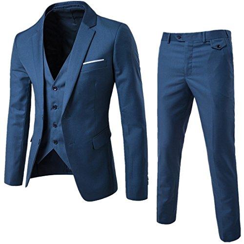 Slim Gilet Pantalon Veste 2 Blue Fit D'affaires Costume Pièces Trois Mariage wInqPIt0x
