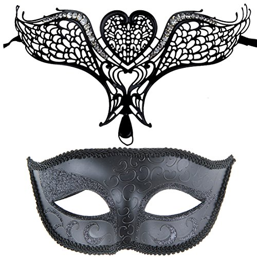 [One Pair Couple's Gorgeous Masquerade Venetian Masks Party Costume Accessory] (Couples Dance Costumes)