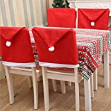 LOHOME 4-Pieces Christmas Chair Covers - Red