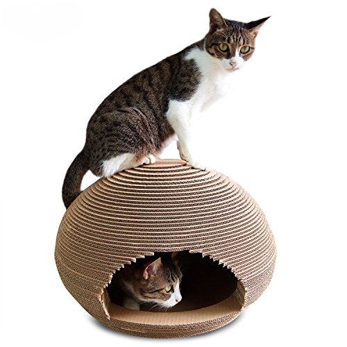 Cat Cave Pet Bed for Large Indoor Cats Scratching Cardboard Post Corrugated Paper Lounge Furniture Scratcher House Catnip Condo Nest Kitty Kitten Maucelidom