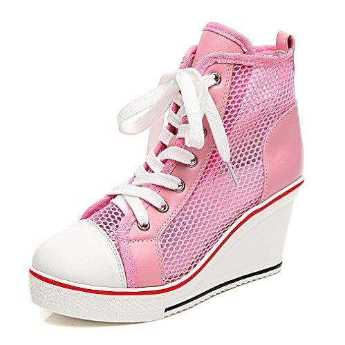 Solshine Damen Atmungsaktive Netz Sommerschuhe Plateau Wedge Sneakers Keilabsatz Hoher Absatz Größe 35-43 Rosa