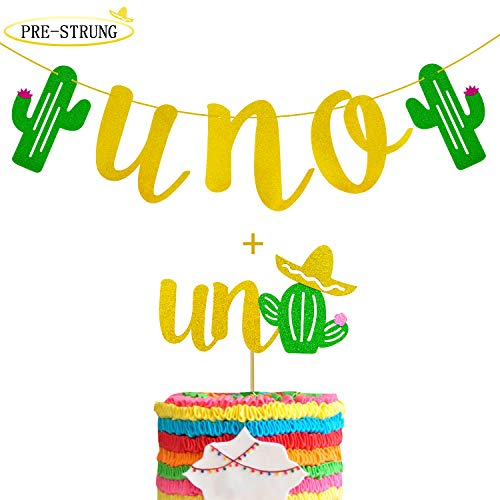 UNO Cactus Banner with Uno Cactus Cake Topper for First Fiesta Birthday Mexican Tropical Taco Party Supplies Gold Glitter Decorations -