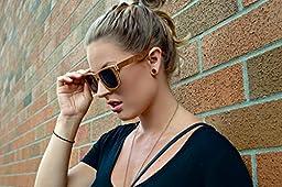 4est Shades Polarized Lenses Wood Sunglass, Brown Maple, Smoke Black