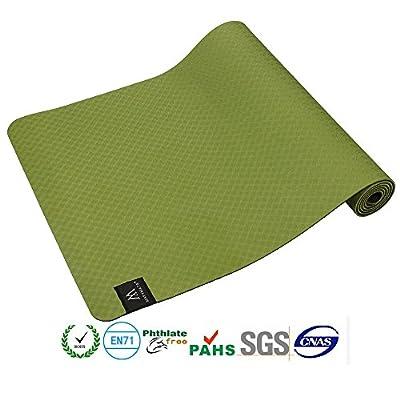 "Matymats Non Slip TPE Yoga Mat with Carry Strap for Pilate Gymnastics Bikram Meditation Towel- High Density Thick 1/4'' Durable Mat 72"" 24"" Eco Safe Non Toxic"