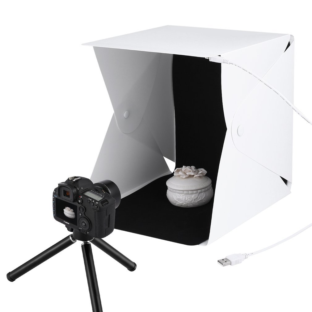 LESHP 22X23CM Photo Studio Shooting Tent Light Cube Diffusion Soft Box Kit with 4 Colors Backdrops (Red Dark Blue Black White) for Photography