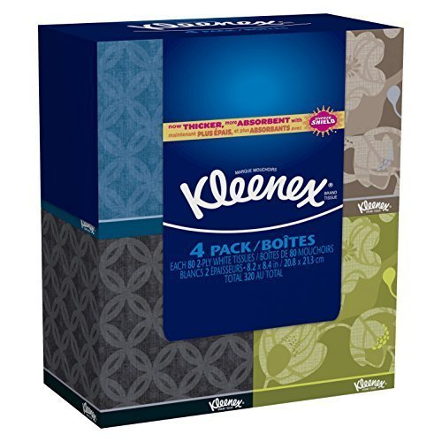Kleenex Everyday Facial Tissue Upright 80 2 Ply 4 Pack by -
