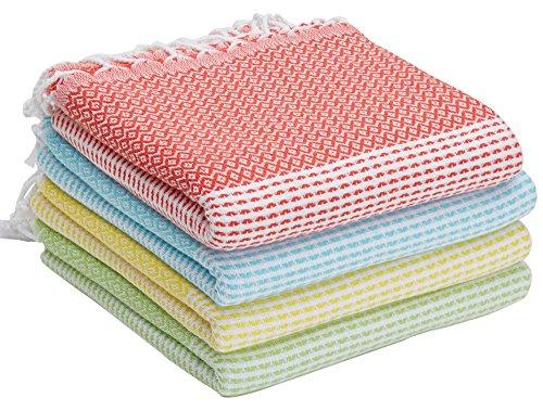 SET of 4 - New Season BRIGHTEST Diamond Weave Turkish Cotton Bath Beach Hammam Towel Peshtemal Blanket (Coral-Teal-Lemon-Pistachio) (Hamam Turkish Bath)