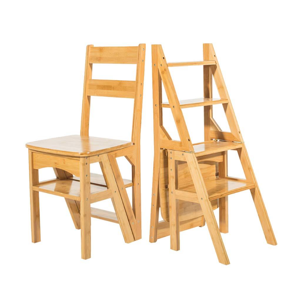 変形4ステップ上昇脚立階段階段椅子、 折りたたみ竹多機能ステップラダー、 大人の屋内木製の花の棚はしごスツール B07QF6SVZ8 Wood color