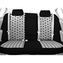 CalTrend Rear Row Solid Back and 40/60 Cushion Custom Fit Seat Cover for Select Ford F-150/F-250 Models - Pet Print (Light Grey Insert with Black Trim)