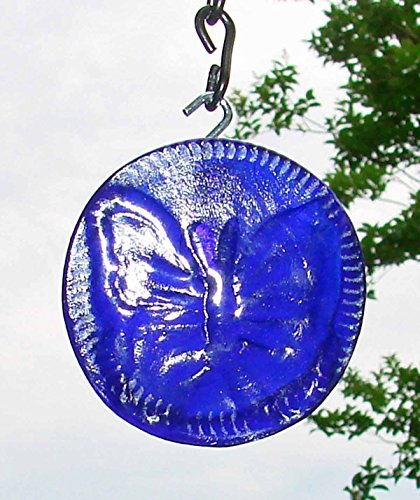 Cobalt Blue Butterfly Up-cycled Glass Bottle Bottom Sun Catcher Ornament - Recycled Glass Ornaments