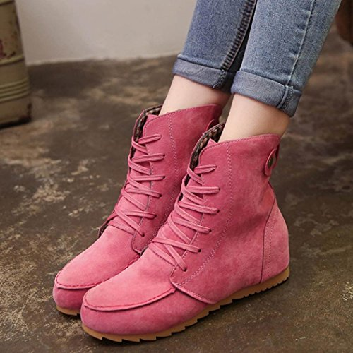 Boot Womens Ankle Soft Boots Short Faux Inkach Riding Lace Hot Flat Pink up Shoes Booties Winter Suede d4wCxqE1