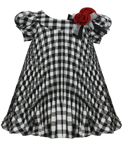 Black-White Metallic Plaid Crystal Pleat Trapeze Dress BW1HB Bonnie Jean Baby-Infant Special Occasion Flower Girl Holiday BNJ Social Dress, Black/White