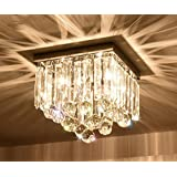 "Yue Jia L10""xW10"" x H11.8"" Square Rain Drop Clear K9 Crystal Ceiling Light Lamp Modern contemporary Chandelier Lighting Fixture for Bathroom Foyer Entry"
