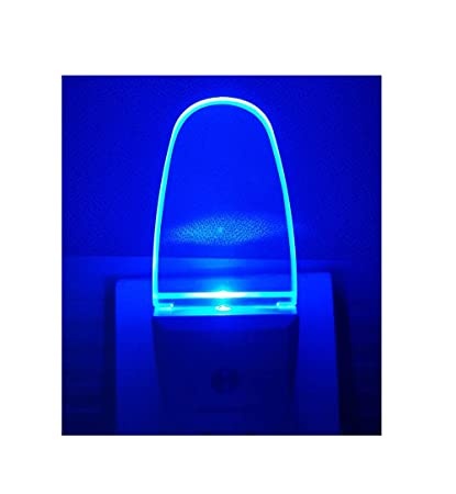 Plug In Light Sensor LED Blue Night Light For Bathroom, Kitchen, Hallway 2  Pack