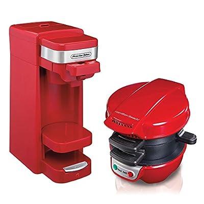 Proctor Silex FlexBrew Single Serve Coffee Maker, Red + Breakfast Sandwich Maker