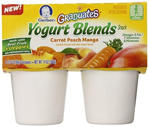 Mango Yogurt Drink - Gerber Graduates Yogurt Blends Snack, Carrot Peach Mango, 4 Count (Pack of 6)