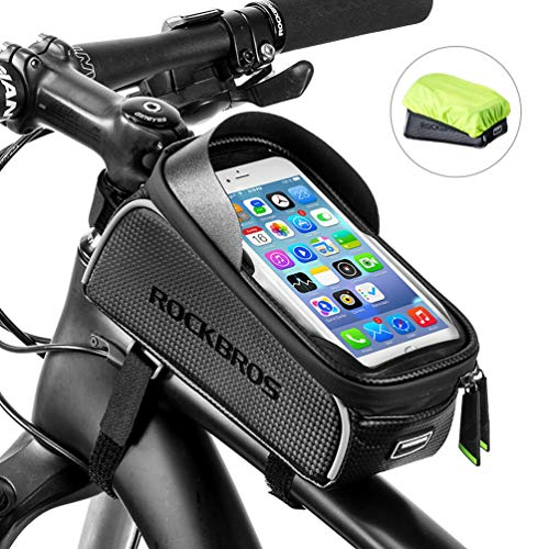 - RockBros Bike Front Frame Bag Cycling Waterproof Top Tube Frame Pannier Bicycle Phone Mount Bag Touch Screen Holder Bike Bag Compatible with iPhone X XS Max XR 8 7 Plus
