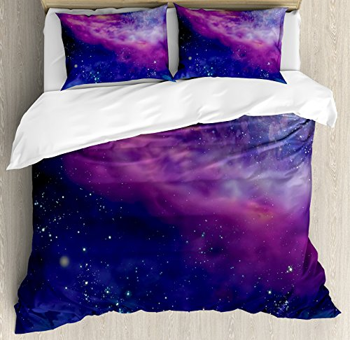 Outer Space Decor Duvet Cover Set by Ambesonne, Spiritual Dim Star Clusters Milky Circle Back with Solar System Elements, 3 Piece Bedding Set with Pillow Shams, Queen / Full, Purple Blue by Ambesonne