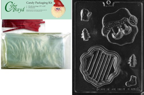 Cybrtrayd MdK25R-C425 Santa Face Pour Christmas Chocolate Mold with Packaging Kit