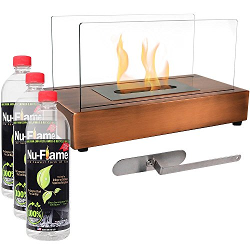- Sunnydaze Copper El Fuego Ventless Tabletop Bio Ethanol Fireplace with Fuel