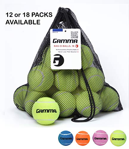 Gamma Bag of Pressureless Tennis Balls - Sturdy & Reuseable Mesh Bag with Drawstring for Easy Transport - Bag-O-Balls (18-pack of balls, ()