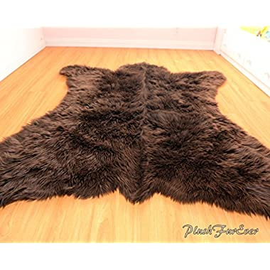 Faux Fur Rug Bearskin Brown Grizzly Accent Area Shaggy Rug 5' X 6' or 60  X 72