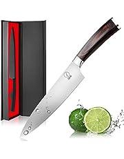 Deik Coltello Cucina, 20cm Coltello Chef con 1.4116 Importati in Acciaio Inox, Equilibrio di qualità Professionale e Super Sharp con Ergnonomic Classy Manico in Legno (Size-02)