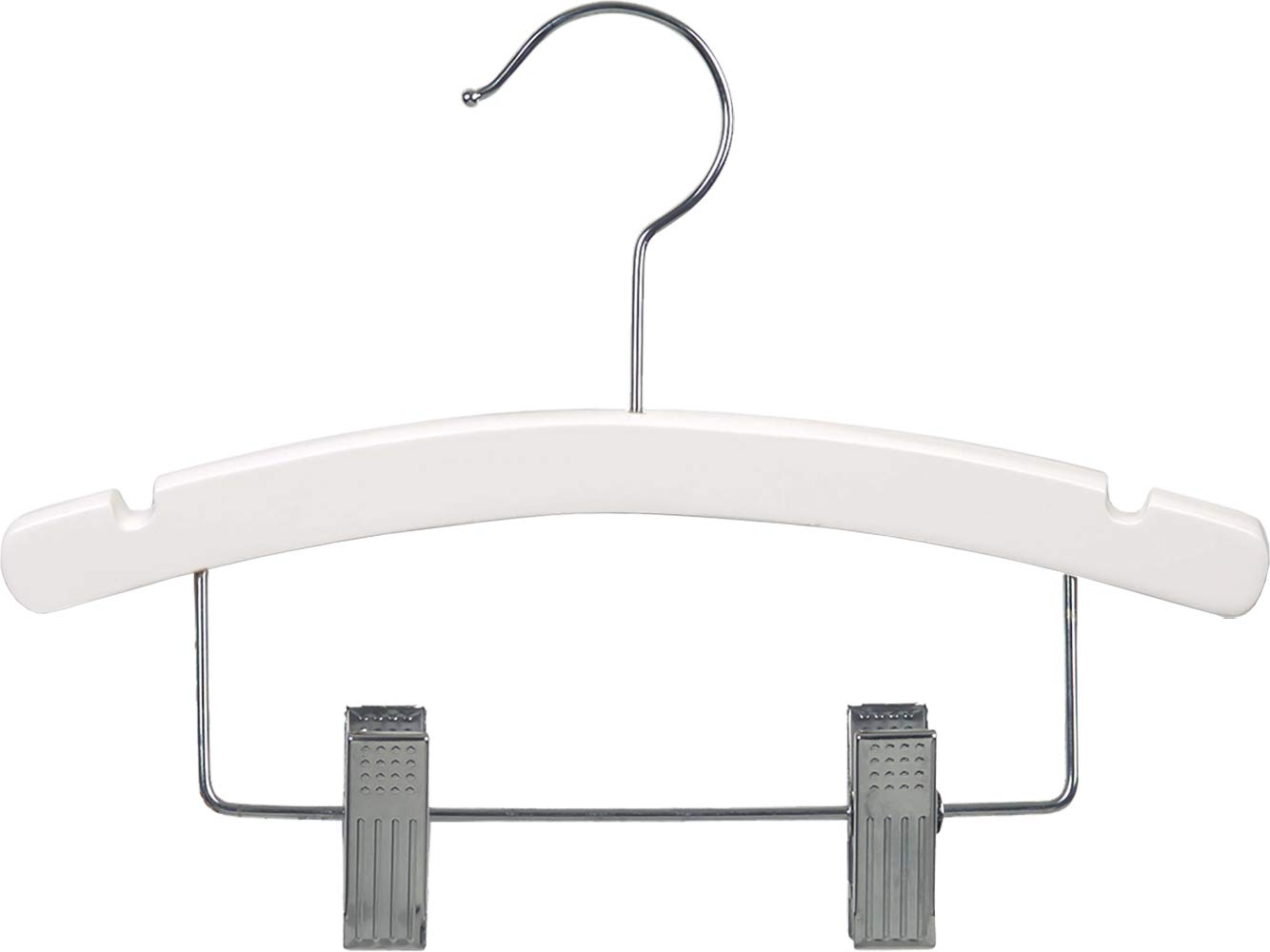 White Kids Combo Hanger, Arched 12 Inch Wood Hanger with Clips and Notches (Box of 100) by The Great American Hanger Company