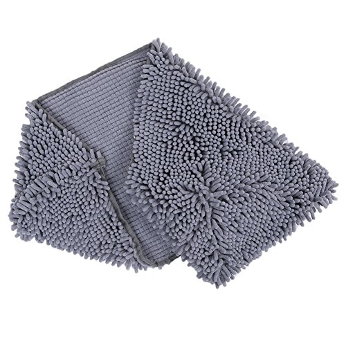 Ultra Absorbent Microfiber Quick Drying Chenille Dog Bath Dry Towel Shammy with Hand Pockets (gray) Chamois Chenille