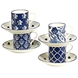 Certified International 24358 Blue Indigo Cups and Saucers, 4 oz, Multicolor