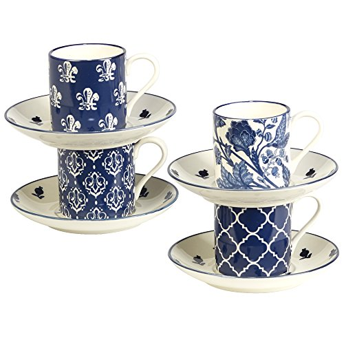 Certified International 24358 Blue Indigo Cups and Saucers, 4 oz, Multicolor by Certified International