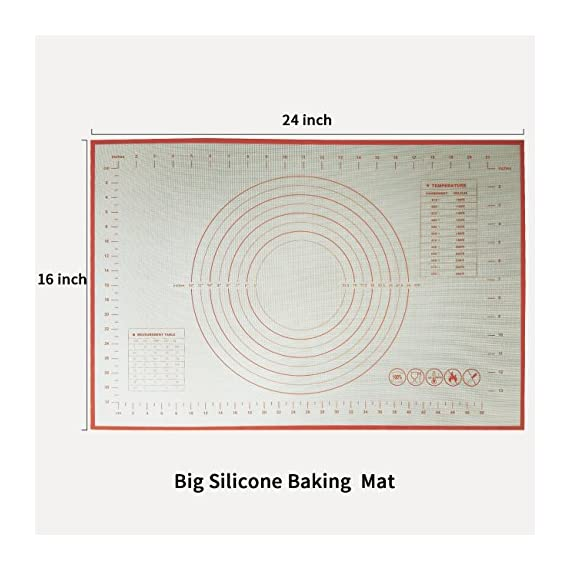 Non Stick Silicone Baking Mat 2 Pcs Set with Measurements, High Temperature Resistance Pastry Mat FDA Approved by Lasten 4 ECO-FRIENDLY MATERIAL: Lasten silicone cooking mat set use imported food-grade silicone and high- quality polyester fiber cloth, FDA approved, no chemical non toxic, these mats are totally safe for you & your family. FEATURES - The pastry mat with measurements adopted the high quality polyester fiber cloth with high temperature, low temperature resistance, corrosion resistance, strong adsorption ability, no cracking, soft feeling, good elasticity and no deformation. LONG LIFE USE - You can use the dough mat for more than 2000 times of baking repetition because the design of glass fiber reinforced inside the silicone cushion makes the kneading mat have a long service life.
