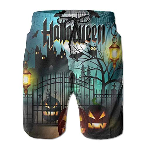 Men's Summer Beach Shorts Swim Trunks Happy Halloween Bat Pumpkin Men Junior Swimming Trunks Household Pants with Pockets Quick Dry