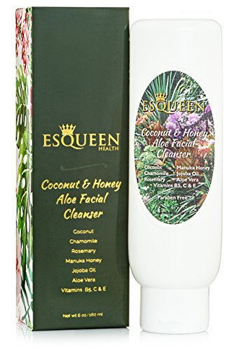 Cheap Face Wash – Esqueen – Organic and Natural Soft Gentle Hydrating Coconut Manuka Honey Aloe Foaming Facial Cleanser (6 oz) – For Acne, Oily, Sensitive, Dry, Anti Aging – For Women & Men – Paraben Free