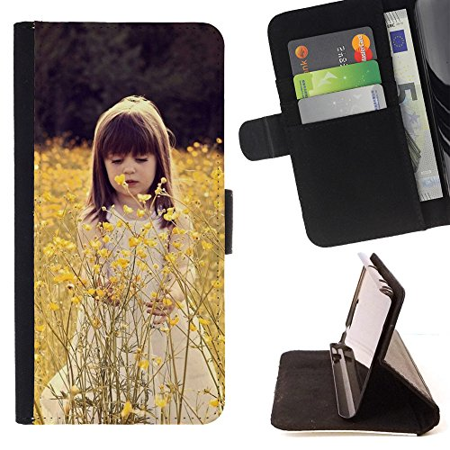 God Garden - FOR Apple Iphone 5C - Cute Child In A Flower Field - Glitter Teal Purple Sparkling Watercolor Personalized Design Custom Style PU Leather Case Wallet Fli