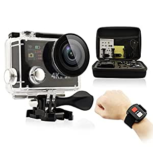 GEEKPRO EOV1 RF 4K HD Dual Screen WIFI Sports Video Cam 12MP Underwater Camcorder Wrist 2.4G Wireless RF Remote Portable Carrying Case