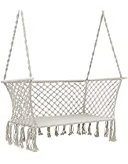 Gardeon Hammock Chair Outdoor Patio Furniture Swing Hanging Chair 2 Seats Portable Rope-Cream